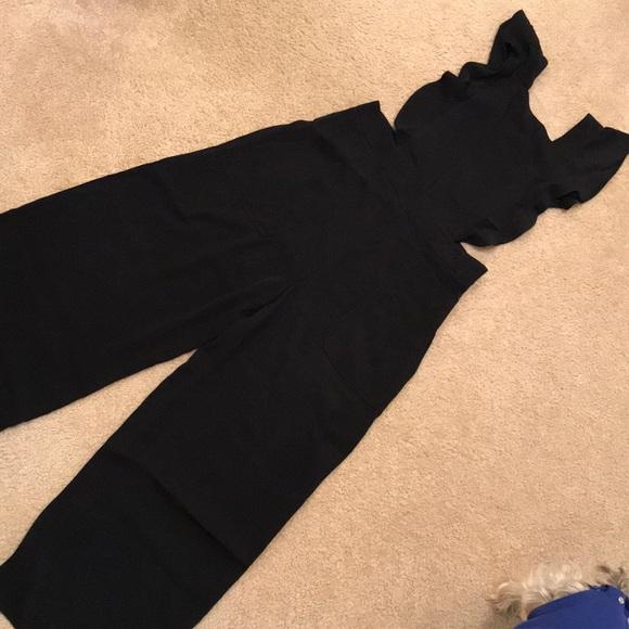 77e15b63de Zara black jumpsuit with ruffle straps